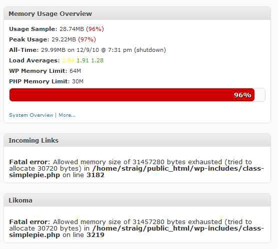 Fatal error: Allowed memory size of 33554432 bytes exhausted