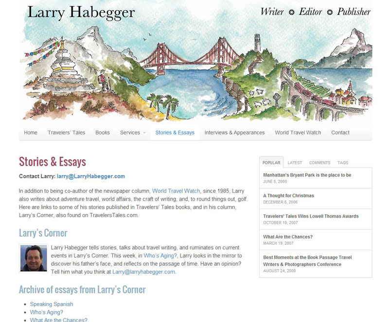 Larry Habegger Site After