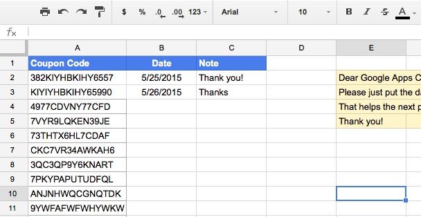I set up a shared Google Doc to share some Google Apps coupon codes. Let's see how this works.
