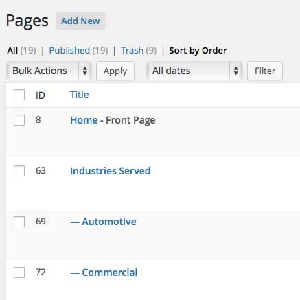 "Order your pages, hierarchical custom post types, or custom post types with ""page-attributes"" with simple drag and drop right from the built in page list."