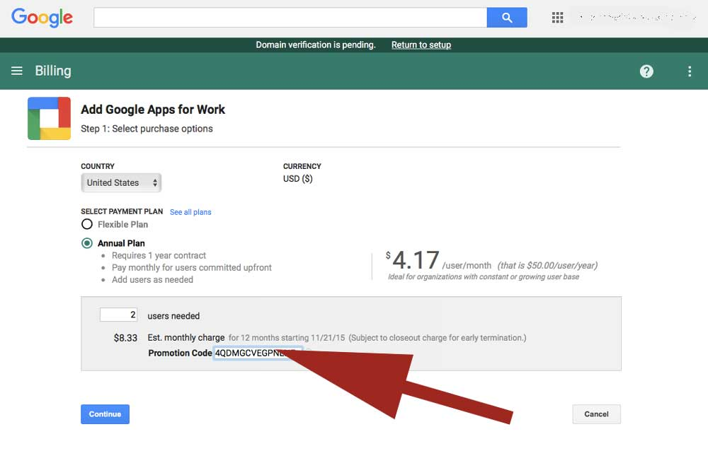Where do I paste my coupon code for Google Apps for Work?