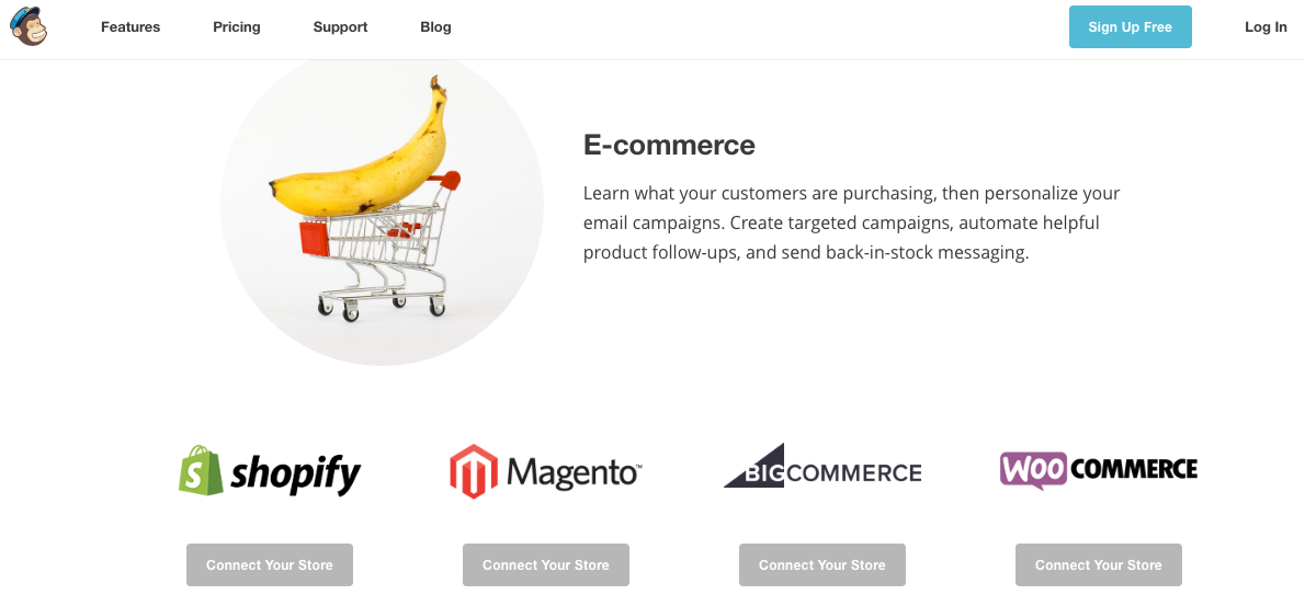 Mailchimp integrates easily with Shopify, Magneto, BigCommerce, and WooCommerce websites.